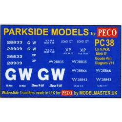 MMPC38 Transfers for ex G.W.R. 'Mink D' Goods Van