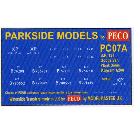 MMPC07A Transfers for B.R. 12T Goods Van, Plank Sides