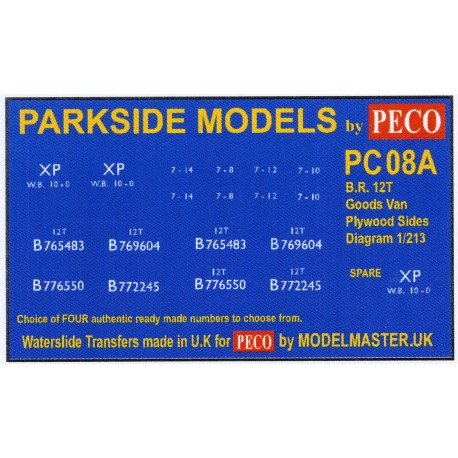 MMPC08A Transfers for B.R. 12T Goods Van, Plywood Sides