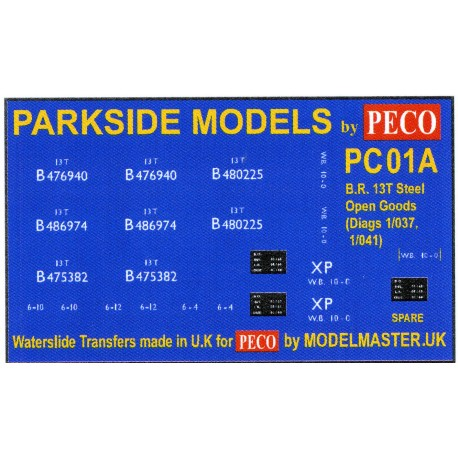 MMPC01A Transfers for B.R. 13T Steel Open Goods Wagon