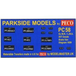MMPC58 Transfers for ex L.M.S. 20T Goods Brake Van (M.R. Design)
