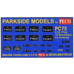 MMPC75 Transfers for R.C.H. 1923 12T 5-Plank Mineral Wagon (B.R. Numbers)