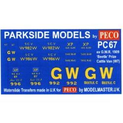 MMPC67 Transfers for ex G.W.R. 'Beetle' 1909 Prize Cattle Van