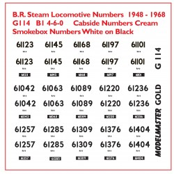 MMG114 Smoke Box & Cab Side Numbers for 15 ex L N E R  Class B1 4-6-0s