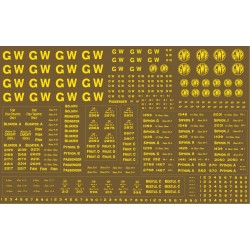 NEW! 7MGW302 7mm scale G.W.R. Large sheet of lettering & numbers for N.S.P.C.C. Brown Vehicles. BRAND NEW