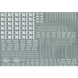 """NE301 L.N.E.R. Large sheet of wagon lettering and numbers, including 16"""" and 4"""" NE lettering."""