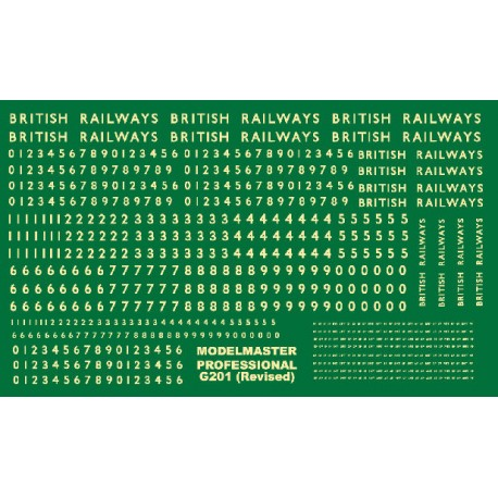 G201 Large sheet of B.R steam loco lettering & numbering Cream