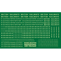 G201 Large sheet of B.R steam loco lettering & numbering (Newly revised ) CREAM
