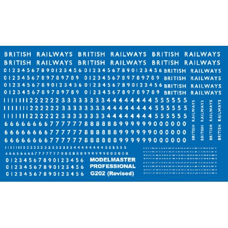 G202 Large sheet of B.R steam loco lettering & numbering White