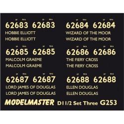 G253 Class D11/2 4-4-0 Names & Numbers SET THREE Cream