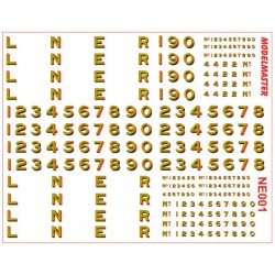"4NE001 L.N.E.R. 12"" Loco Lettering & Numbering GOLD shaded Red & Black"