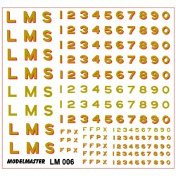 "LM006 L.M.S. Sans Serif Loco Lettering & Numbering, 10"", 12"" & 14"" GOLD, and GOLD SHADED RED"