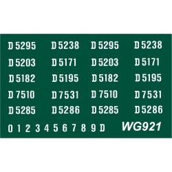 WG921 4 each x Ten Ready Made Number Sets for B.R. 1250hp Type 2, D5150 series, WHITE