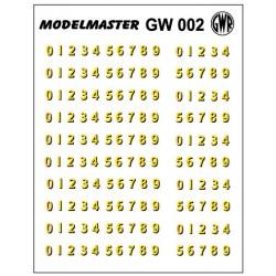 GW002 G.W.R. Loco Bufferbeam Numbers, Fifteen sets of 0 - 9 (Cream, Shaded Black)