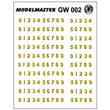 GW002 G.W.R. Loco Bufferbeam Numbers, Fifteen sets of 0 - 9 (Cream, Shaded Black)