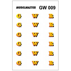 GW009 G.W.R. Three pairs 'G W R' Loco Lettering (Yellow shaded Red & Black)