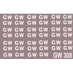 "GW308 Great Western Railway. Sheet of large 16"" lettering for wagons as used between 1923 and 1936."