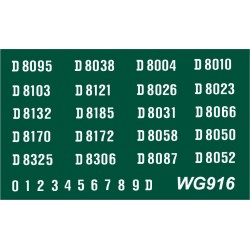 WG916 2 each x Twenty Ready Made Number Sets for E.E. Type 1, Bo-Bo, D8000 series, WHITE