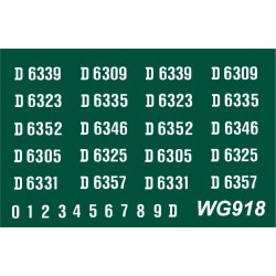 WG918 4 each x Ten Ready Made Number Sets for N.B DH Type 1, Bo-Bo, D6300 series, WHITE