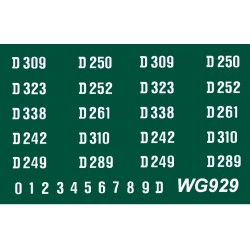WG929 4 each x Ten Ready Made Number Sets for E.E. Type 4 1Co-Co1, D200 series, WHITE