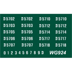 WG924 4 each x Ten Ready Made Number Sets for Metrovick Co-Bo, D5700 series, WHITE