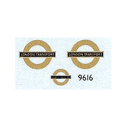 LT9616 'LONDON TRANSPORT' Bar & Circle (gold) 9mm long for front of Green Line R.M. coaches Plus one 5mm long for lower side.