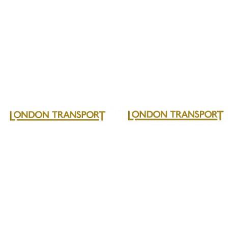 LT9601 'LONDON TRANSPORT' underlined 23mm fleetname Gold with black outline. Price per pair