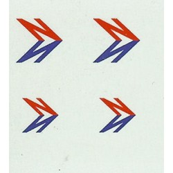 MB5289 SLOPING 'N' SYMBOLS for fleetnames. Includes small 'N's for front & rear panels, RED, WHITE, and BLUE