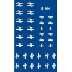 4MG404 18 Pairs of WHITE post 1965 'Double Arrow' emblems.