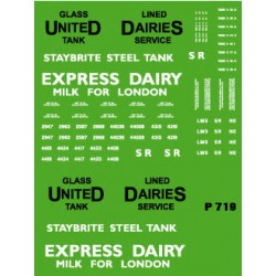 MMP719 Milk Tank Wagons 2 x each UNITED DAIRIES & EXPRESS DAIRY Tank Wagon Decals REPRINTED 18th March 2019