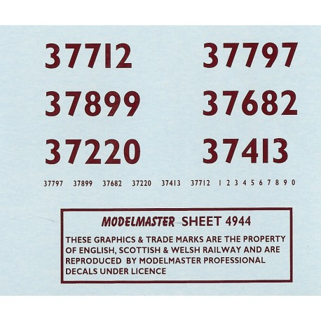 MM4944 Side and Bufferbeam Numbering ONLY for Class 37 (Different numbers  from sheet MM4935)
