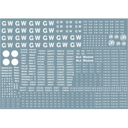 "GW301 Great Western Railway. Large sheet of wagon lettering and numbers, including 16"" and 4"" GW lettering. BACK IN PRINT NOW"